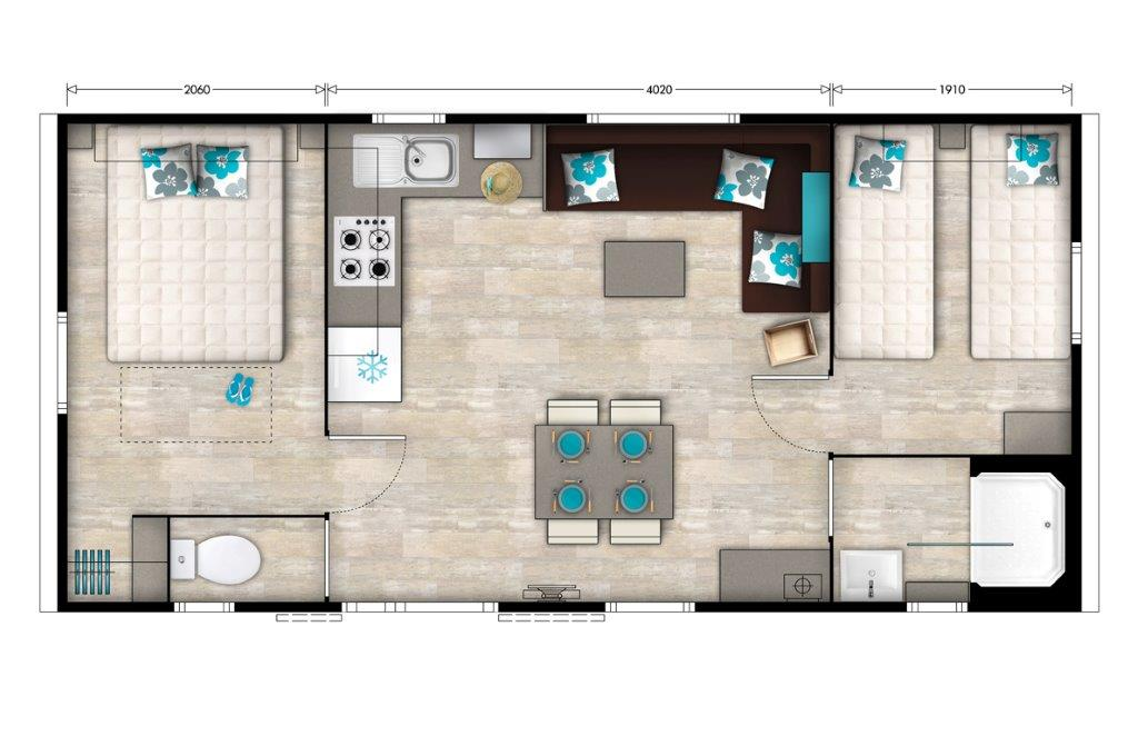 plan mobilhome 3 chambres 6 personnes