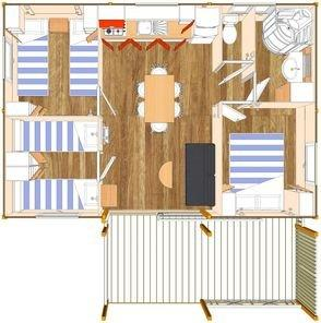 plan Chalet 6/8 pers. 3 chambres