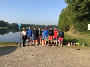 Groupe de campeurs au départ du lac d'Apremont à proximité de notre camping